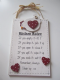 Cockerel & Hearts Design Kitchen Rules Hanging Plaque. 61641